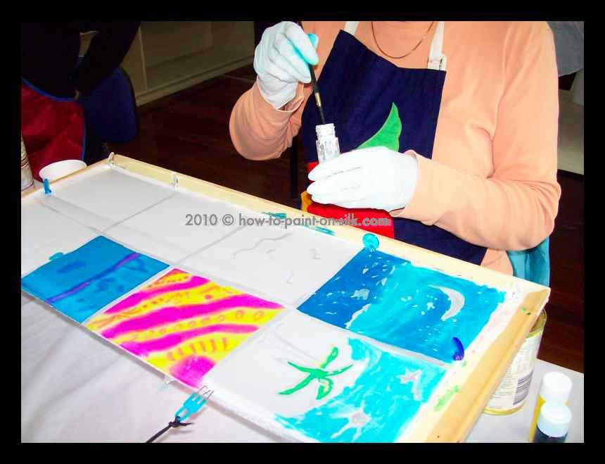 Learn how to paint on silk - a student in the Teena Hughes silk painting course