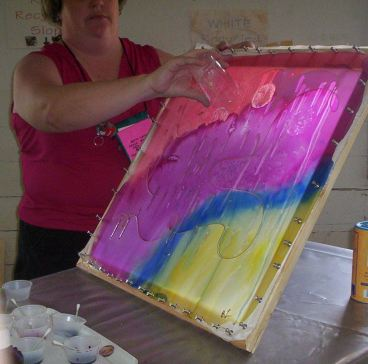 Free Membership - Silk Painting - student showing her silk scarf