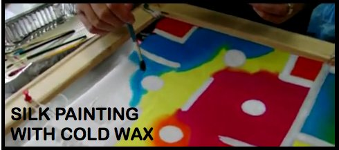 Silk painting with cold wax, bold white outlines - image