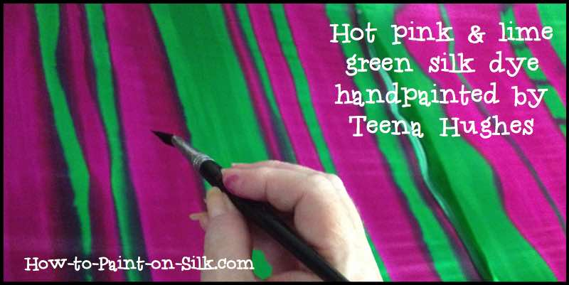 Hot pink and lime green silk dyes handpainted by Teena Hughes