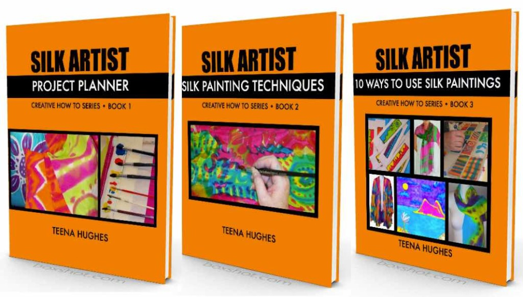 August News 2015 Moci-up of 3 Silk Painting Books