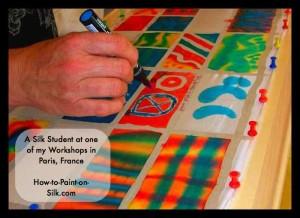 Silk painting student in Paris
