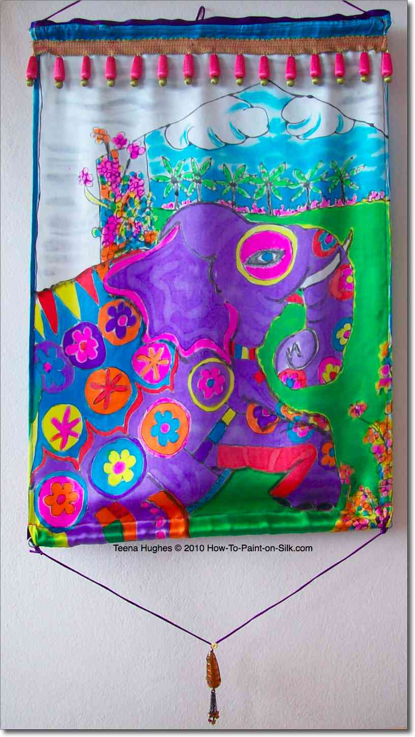 Handpainted silk Maharajah's Garden featuring a painted elephant by Teena Hughes