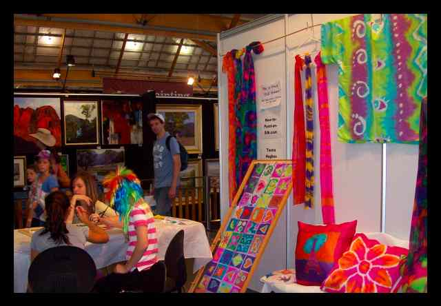 Students learning how to paint on silk at the Royal Easter Show   in  Sydney, 12th April 2010