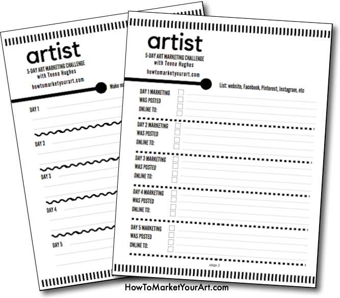 PDF Checklists for students of Art Marketing Challenge
