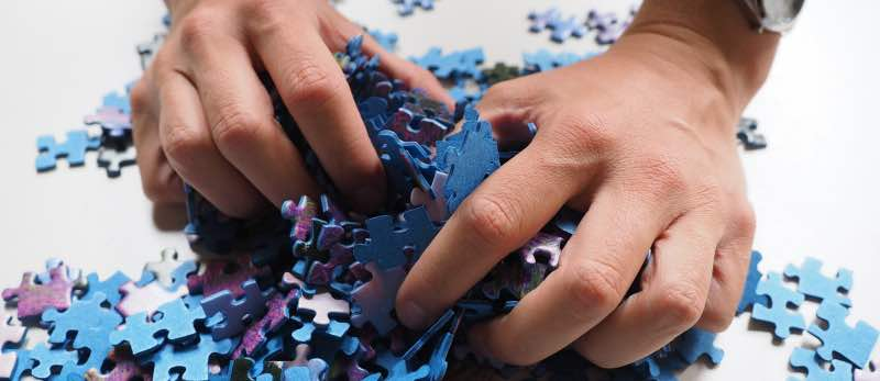 Silk Painting Puzzle pieces